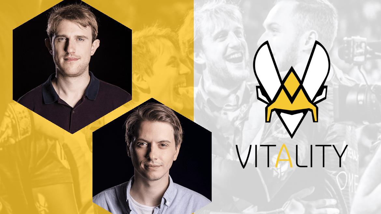 Portrait des deux fondateur de Vitality, Fabien Devide et Nicolas Maurer, avec le logo Vitality