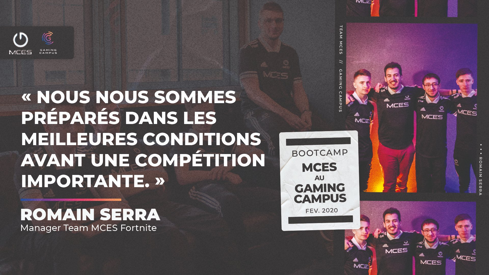 Equipe esport MCES en bootcamp au Gaming Campus