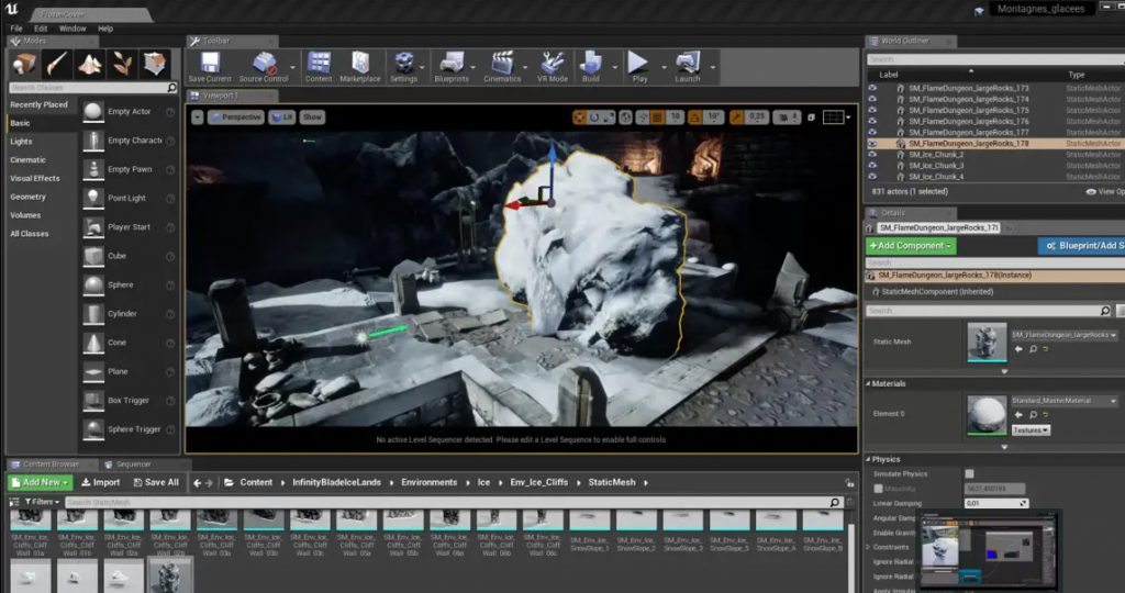 Exemple d'interface Unreal Engine