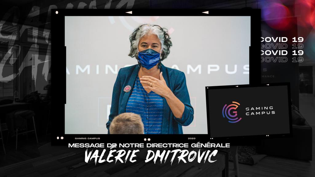 Valérie Dmitrovic, directrice générale des écoles Gaming Campus en présentation devant des étudiants