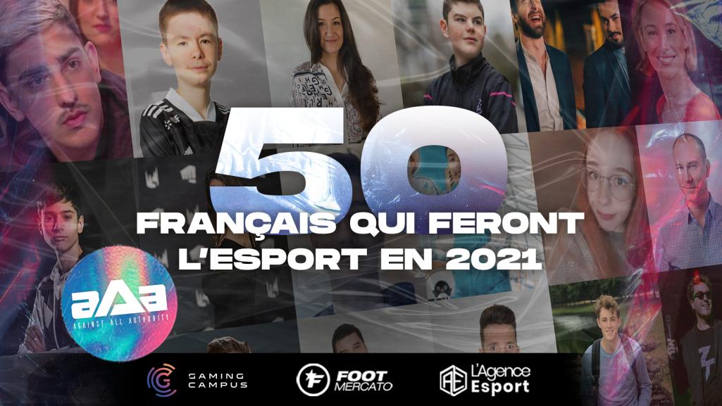 Photos du logo des 50 français qui feront l'esport en 2021 avec des photos de plusieurs lauréats